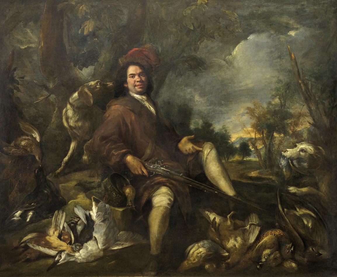 cacciatore con selvaggina e cani in un paesaggio Olio su tela, cm 192 X 231,5