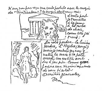 """Lettera di Magritte a Marcel Mariën del 10 giugno 1944 con lo schizzo de """" Le civilisateur"""""""