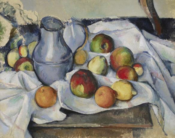 Paul CŽzanne (1839 Ð 1906) Bouilloire et Fruits (Pitcher and Fruits), 1888-90 Oil on canvas 19 3/4 x 24 in. (50 x 61 cm) Private Collection Photo: Michael Bodycomb