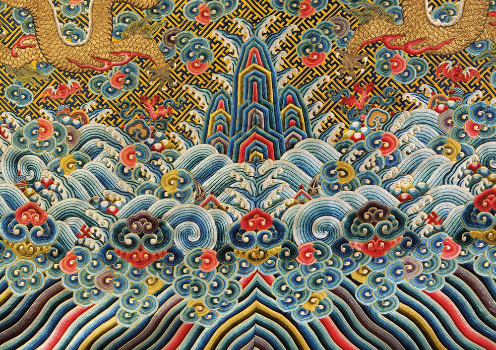 """bellissimo abito imperiale cinese in seta a fondo giallo con draghi ed i """"dodici simboli"""",Jifu, periodo Jiaqing (1796-1820) battuto a 212.500 euro"""