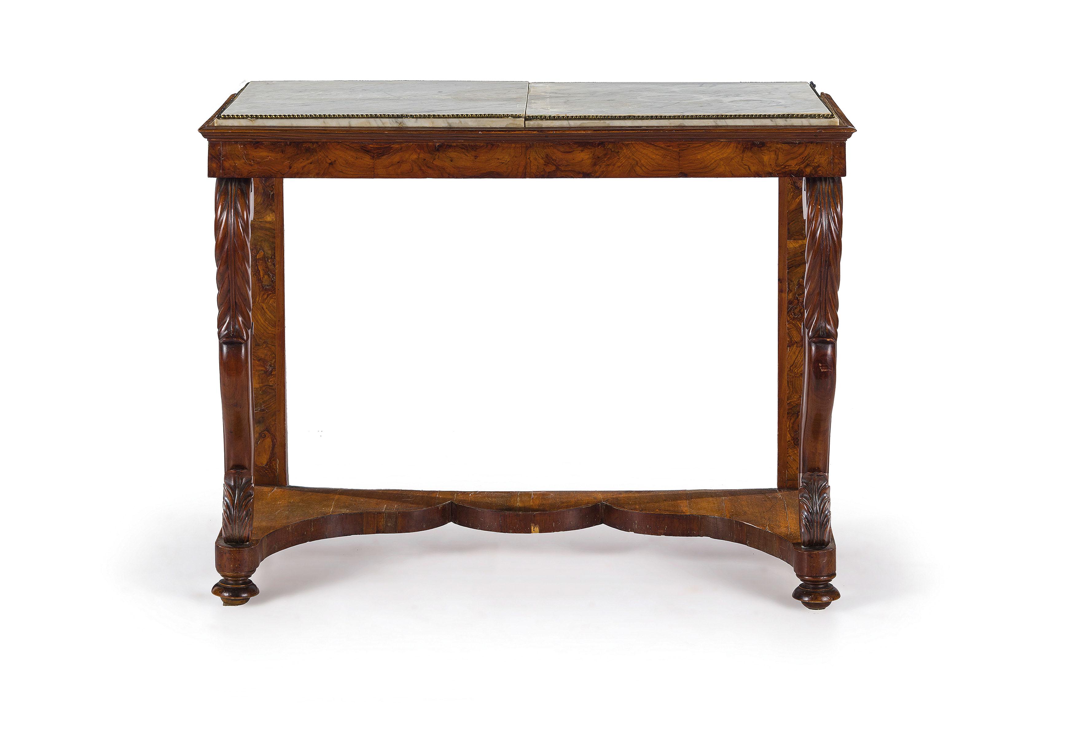 Coppia di console in legno e radica di noce xix secolo for Piani di casa di 10000 piedi quadrati