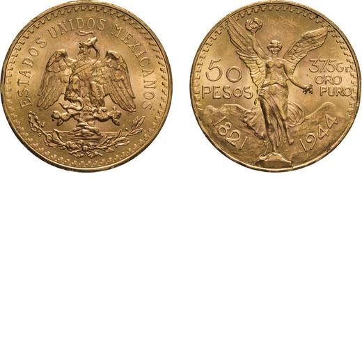 ZECCHE ESTERE. MESSICO. 50 PESOS 1947 Oro, 41,76 gr, 37 mm, BB/SPL.<br>D: Divisa messicana con aquil