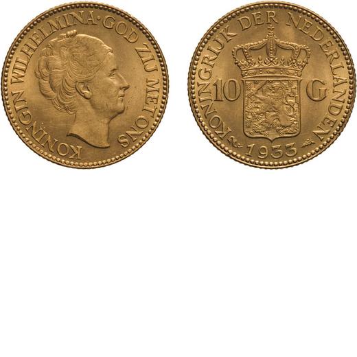 ZECCHE ESTERE. OLANDA. WILHELMINA I. 10 GULDEN 1933. Oro, 6,72 gr, 22 mm. qSPL. <br>D: KONINGIN WILH