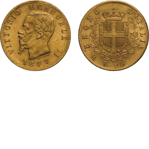 REGNO DITALIA. VITTORIO EMANUELE II. 20 LIRE ORO 1877 Roma. Oro, 6,44 gr, 21 mm, MB+.<br>D: VITTORIO