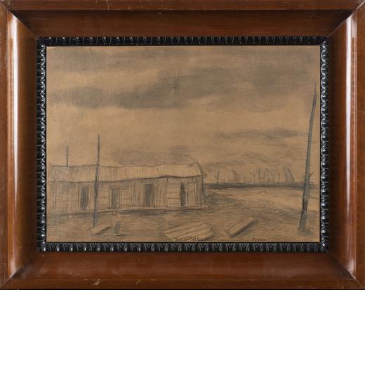 FIORENZO TOMEA Zoppe Di Cadore 1910-Milano 1960<br>Ravenna, 1939<br>Tecnica mista su carta, cm 20,5