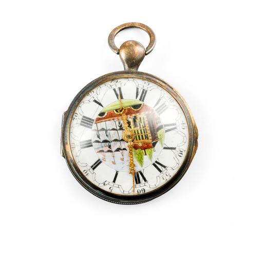 CASSA DI OROLOGIO DA TASCA CON QUADRANTE E LANCETTE FINTE - CIRCA 1870 Cassa vuota di un orologio da