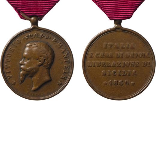 MEDAGLIE E DECORAZIONI ITALIANE. PALERMO. VITTORIO EMANUELE II. LIBERAZIONE SICILIA 1860  Bronzo, 30