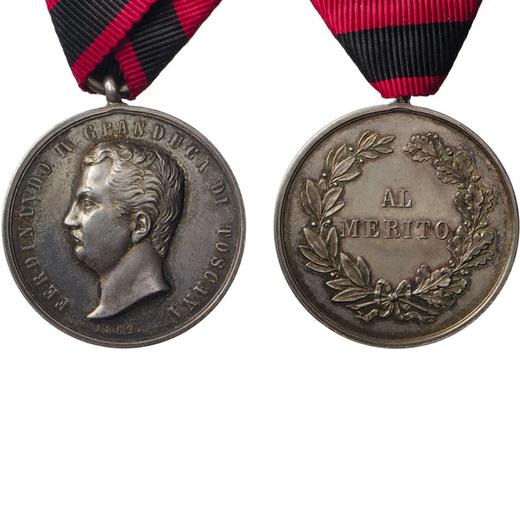 MEDAGLIE E DECORAZIONI ITALIANE. GRANDUCATO DI TOSCANA. FERDINANDO IV. AL MERITO 1862 Argento, 35 mm