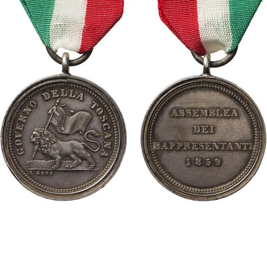 MEDAGLIE E DECORAZIONI ITALIANE. TOSCANA. MEDAGLIA PER I MEMBRI DEL GOVERNO PROVVISORIO 1859. Argent