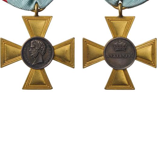 MEDAGLIE E DECORAZIONI ITALIANE. GRANDUCATO DI TOSCANA. LEOPOLDO II. ANZIANITA  Bronzo dorato con la