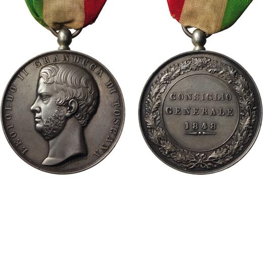 MEDAGLIE E DECORAZIONI ITALIANE. GRANDUCATO DI TOSCANA. LEOPOLDO II. CONSIGLIO GENERALE 1848 Argento