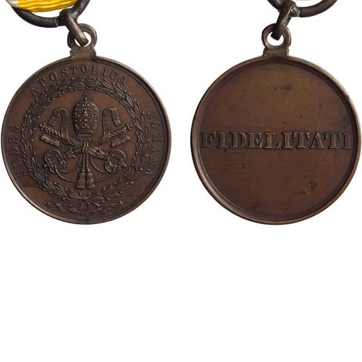 MEDAGLIE E DECORAZIONI PONTIFICIE. PIO IX. FIDELITATI 1850 Bronzo. 32Mm, BB. Molto Rara.<br>D: SEDES