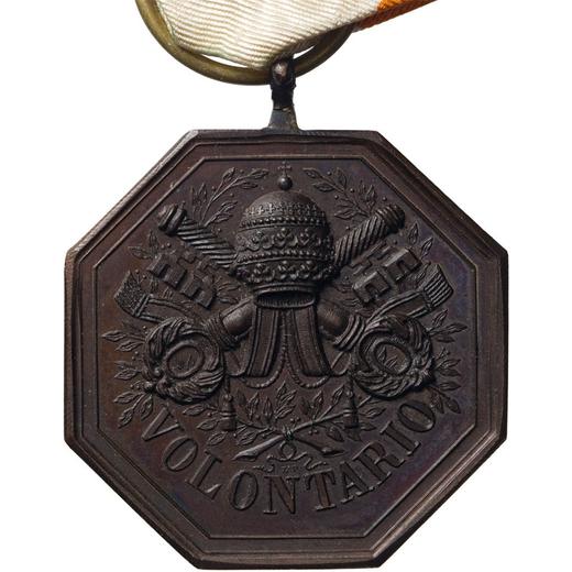 MEDAGLIE E DECORAZIONI PONTIFICIE. MEDAGLIA OTTAGONALE. VOLONTARIO 1860 Bronzo, 35 mm, SPL. Uniface.