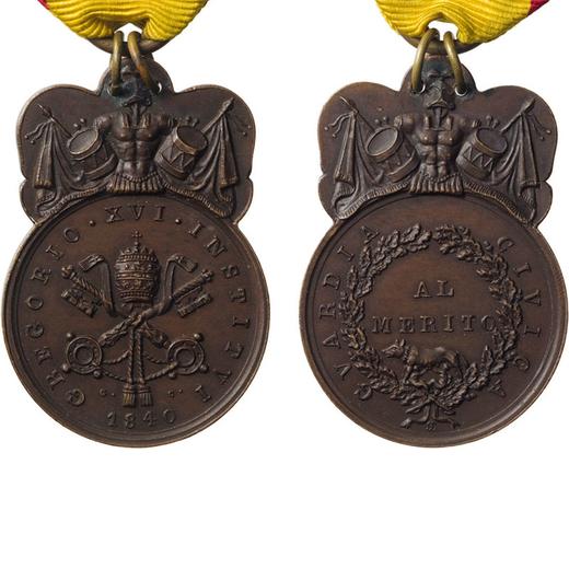 MEDAGLIE E DECORAZIONI PONTIFICIE. GREGORIO XVI. GUARDIA CIVICA AL MERITO 1840 Bronzo, 22x40 mm, BB+