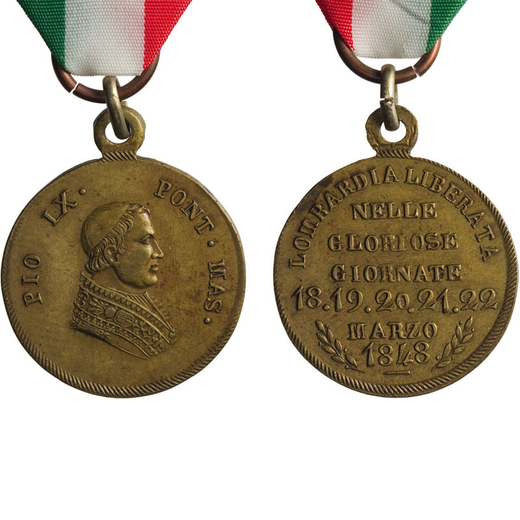 MEDAGLIE E DECORAZIONI PONTIFICIE. PIO IX 1848. LOMBARDIA LIBERATA NELLE GLORIOSE GIORNATE Bronzo, 2
