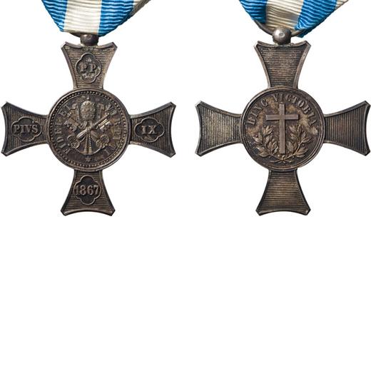 MEDAGLIE E DECORAZIONI PONTIFICIE. PIO IX, CROCE DI MENTANA 1867 Argento, 40 mm, BB. <br>La croce ha