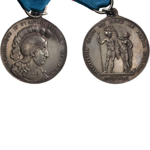 MEDAGLIE E DECORAZIONI ITALIANE. REGNO DELLE DUE SICILIE. FERDINANDO IV. AL VALORE MILITARE 1797 Arg