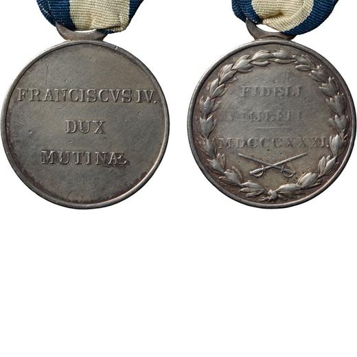 MEDAGLIE E DECORAZIONI ITALIANE. FRANCESCO IV DUCA DI MODENA. FIDELI MILITI 1831 Argento, 34 mm, MB.