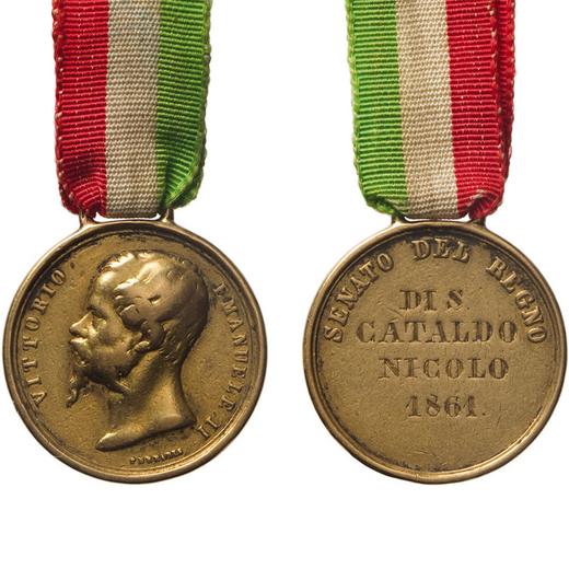 MEDAGLIE E DECORAZIONI ITALIANE. REGNO DITALIA. VITTORIO EMANUELE II. SENATO DEL REGNO Oro, 20 mm, M