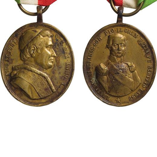 MEDAGLIE E DECORAZIONI ITALIANE. GRANDUCATO DI TOSCANA. MEDAGLIA OVALE LEOPOLDO II E PIO IX 1847 Bro