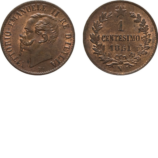 REGNO DITALIA. VITTORIO EMANUELE II. 1 CENTESIMO VALORE 1861  Napoli. Rame, 1,07 gr, 15 mm, FDC. Rar