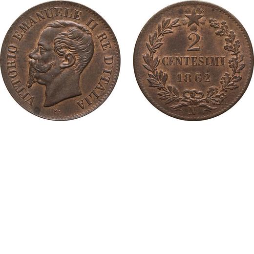 REGNO DITALIA. VITTORIO EMANUELE II. 2 CENTESIMI VALORE 1862  Napoli. Rame, 2,10 gr, 20 mm, FDC. Ex