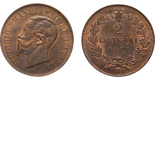 REGNO DITALIA. VITTORIO EMANUELE II. 2 CENTESIMI VALORE 1867  Torino. Rame, 1,96 gr, 20 mm, SPL+<br>
