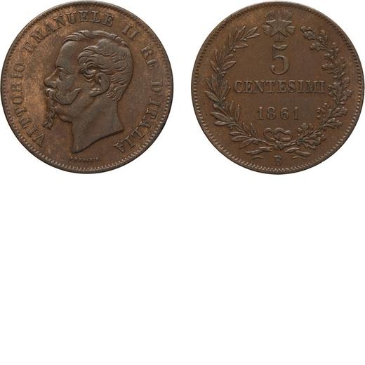 REGNO DITALIA. VITTORIO EMANUELE II. 5 CENTESIMI VALORE 1861  Bologna. Rame, 5,32 gr, 25 mm, MB. Mol