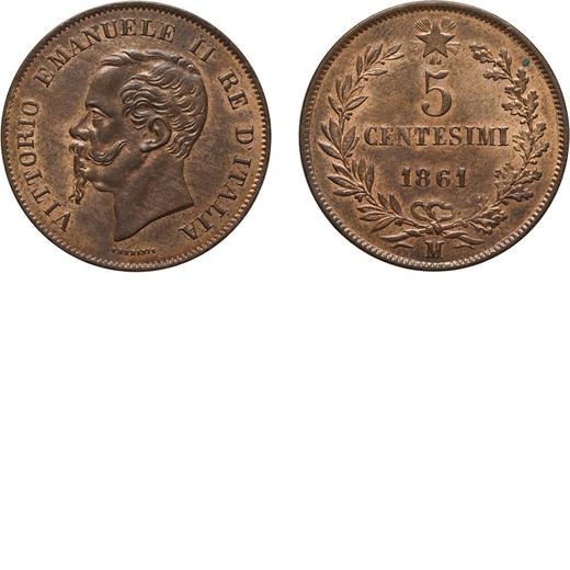 REGNO DITALIA. VITTORIO EMANUELE II. 5 CENTESIMI VALORE 1861  Milano. Rame, 5,02 gr, 25 mm, qFDC.<br