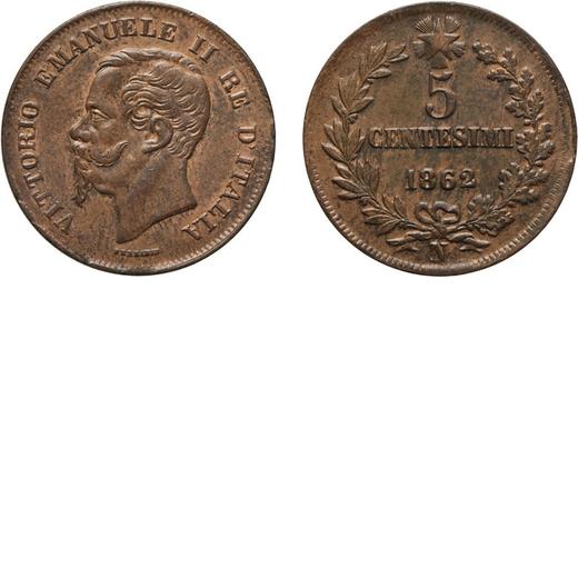 REGNO DITALIA. VITTORIO EMANUELE II. 5 CENTESIMI VALORE 1862  Napoli. Rame, 4,72 gr, 25 mm, qFDC.<br