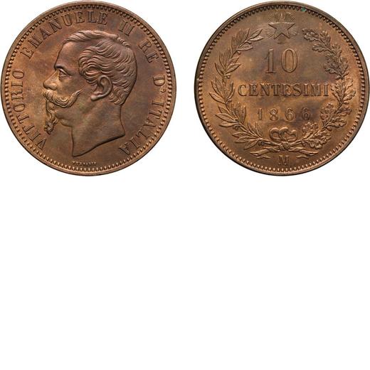 REGNO DITALIA. VITTORIO EMANUELE II. 10 CENTESIMI VALORE 1866  Milano. Rame, 10,01 gr, 30 mm, FDC. R