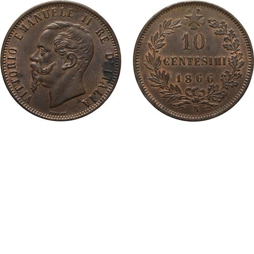 REGNO DITALIA. VITTORIO EMANUELE II. 10 CENTESIMI VALORE 1866  Napoli. Rame, 10,04gr, 30 mm, SPL.<br