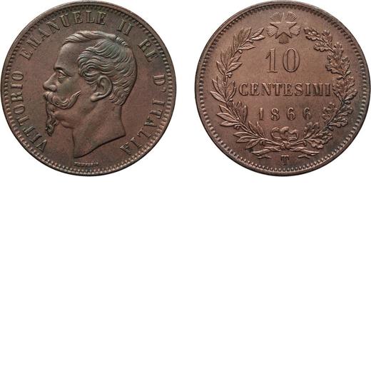 REGNO DITALIA. VITTORIO EMANUELE II. 10 CENTESIMI VALORE 1866  Torino. Rame, 9,97 gr, 30 mm, SPL+.<b