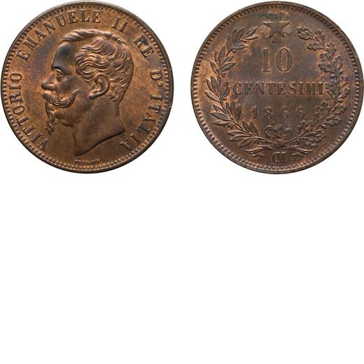 REGNO DITALIA. VITTORIO EMANUELE II. 10 CENTESIMI VALORE 1866  Strasburgo. Rame, 9,74 gr, 30 mm, FDC