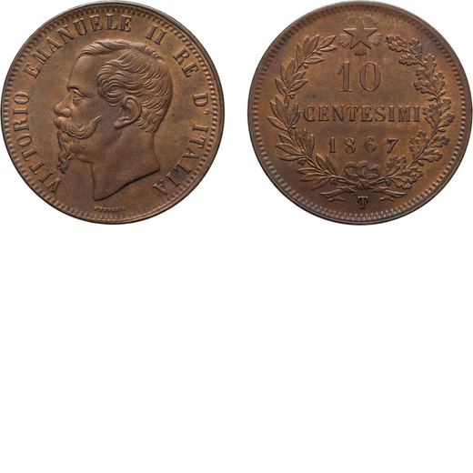 REGNO DITALIA. VITTORIO EMANUELE II. 10 CENTESIMI VALORE 1867  Torino. Rame, 10,24 gr, 30 mm, SPL.<b