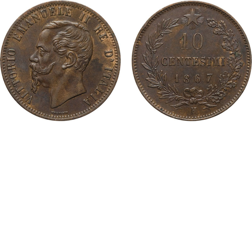 REGNO DITALIA. VITTORIO EMANUELE II. 10 CENTESIMI VALORE 1867  Birmingham. Rame, 10,06 gr, 30 mm, SP