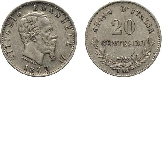 REGNO DITALIA. VITTORIO EMANUELE II. 20 CENTESIMI VALORE 1863  Torino. Argento, 0,98 gr, 16 mm, SPL.
