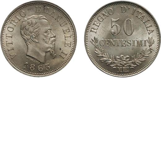 REGNO DITALIA. VITTORIO EMANUELE II. 50 CENTESIMI VALORE 1863  Milano. Argento, 2,53 gr, 18 mm, qFDC