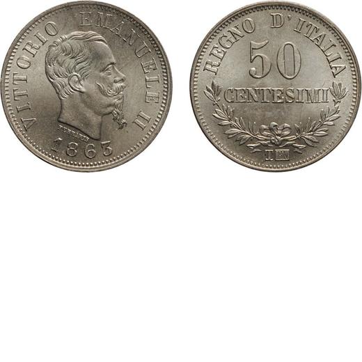 REGNO DITALIA. VITTORIO EMANUELE II. 50 CENTESIMI VALORE 1863  Torino. Argento, 2,50 gr, 18 mm, SPL+