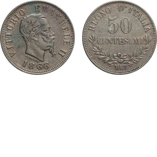 REGNO DITALIA. VITTORIO EMANUELE II. 50 CENTESIMI VALORE 1866  Milano. Argento, 2,41 gr, 18 mm, BB+.
