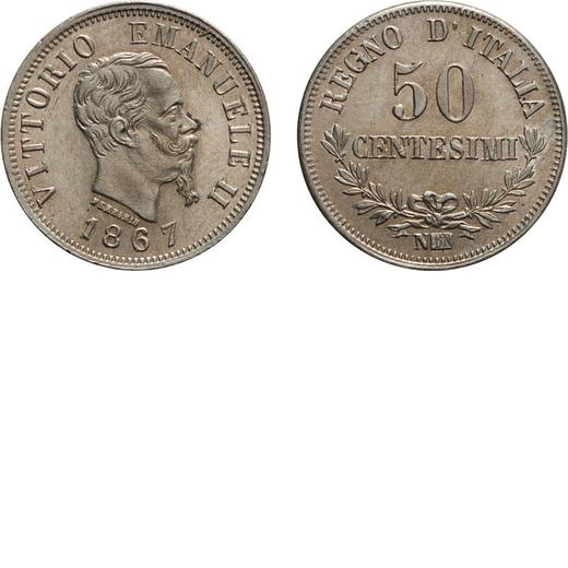 REGNO DITALIA. VITTORIO EMANUELE II. 50 CENTESIMI VALORE 1867  Napoli. Argento, 2,50 gr, 18 mm, SPL+