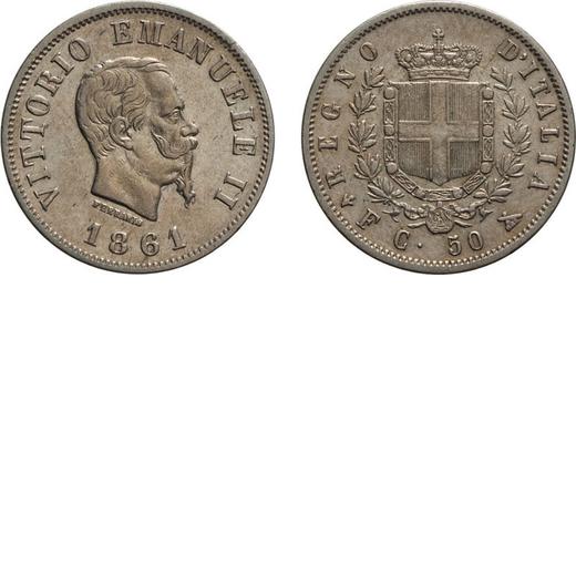 REGNO DITALIA. VITTORIO EMANUELE II. 50 CENTESIMI STEMMA 1861  Firenze. Argento, 2,50 gr, 18 mm, BB+