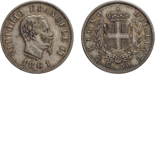 REGNO DITALIA. VITTORIO EMANUELE II. 50 CENTESIMI STEMMA 1861  Torino. Argento, 2,40 gr, 18 mm, BB+.