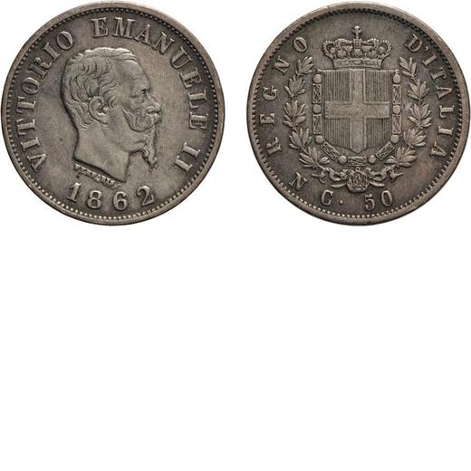 REGNO DITALIA. VITTORIO EMANUELE II. 50 CENTESIMI STEMMA 1862  Napoli. Argento, 2,45 gr, 18 mm, BB.