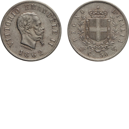REGNO DITALIA. VITTORIO EMANUELE II. 50 CENTESIMI STEMMA 1862  Torino. Argento, 2,41 gr, 18 mm, qFDC