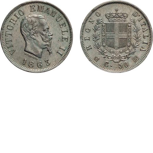 REGNO DITALIA. VITTORIO EMANUELE II. 50 CENTESIMI STEMMA 1863  Milano. Argento, 2,55 gr, 18 mm, colp