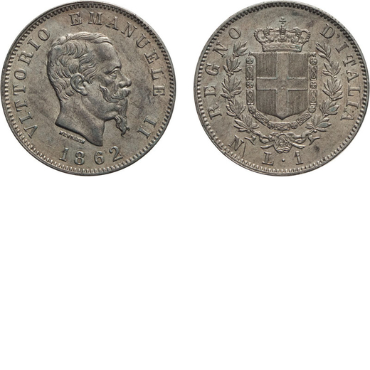 REGNO DITALIA. VITTORIO EMANUELE II. 1 LIRA STEMMA 1862  Napoli. Argento, 5,03 gr, 23 mm, qFDC. Rara