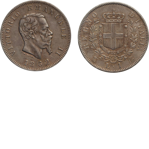 REGNO DITALIA. VITTORIO EMANUELE II. 1 LIRA STEMMA 1862  Torino. Argento, 4,90 gr, 23 mm, BB/BB+. Mo