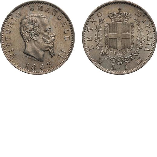 REGNO DITALIA. VITTORIO EMANUELE II. 1 LIRA STEMMA 1863  Milano. Argento, 4,96 gr, 23 mm, SPL+.<br>D