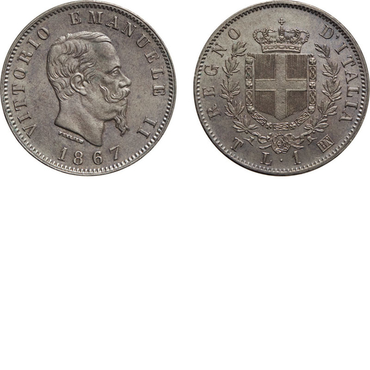 REGNO DITALIA. VITTORIO EMANUELE II. 1 LIRA STEMMA 1867  Torino. Argento, 5,06 gr, 23 mm, SPL/FDC. M